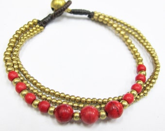 Beaded Bracelet - Multi Strand Red Coral Bead and Brass Bead Bracelet