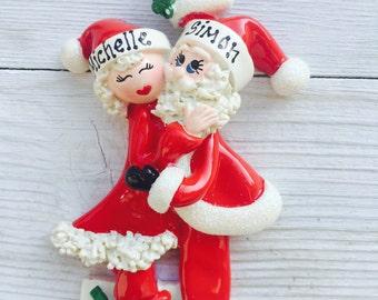 Personalised 1st christmas/xmas decoration -mistletoe couple nanny grandad, grandparents