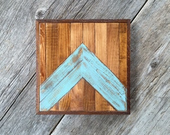 Chevron Wall Decor, Home Accents, Rustic Wall Art, Chevron Design, Turquoise, Chevron Art, Handmade, Pieced Wood Art, Boho, Bohemian Decor