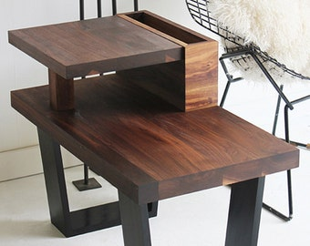 walnut side table, modern side table, walnut furniture, wood side table, walnut side table, side table