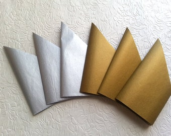 Metallic Silver and Gold Tissue Paper Crowns