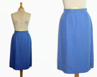 New 80s Silk Skirt / 1980s Long Blue Skirt Raw Silk M Deadstock Georgio