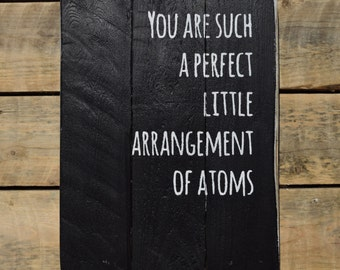 "reclaimed wood wall art - ""you are such a perfect little arrangement of atoms"""