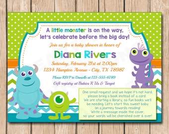 Mini Monsters Inc. Baby Shower Invitation with book request or diaper raffle | Boy or Girl, Neutral - 1.00 each printed or 12.00 DIY file