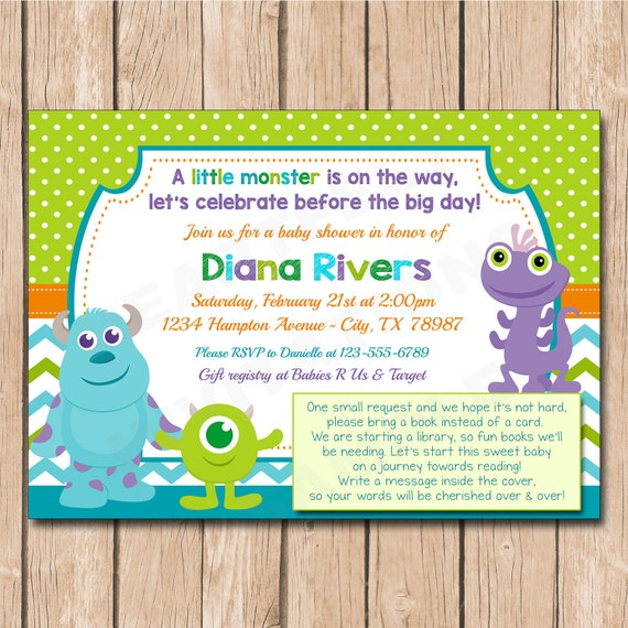 mini monsters inc baby shower invitation with book request or diaper