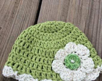 Crochet Baby Hat Green Hat with flower Baby Hat Newborn Hat photo prop, Preemie hat