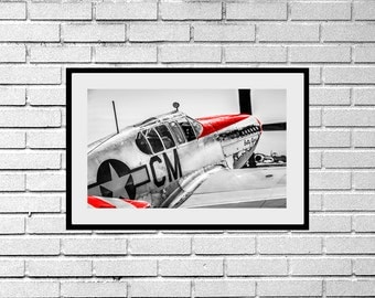 Red Nose P51C Mustang WW2 Fighter Plane b/w Photograph