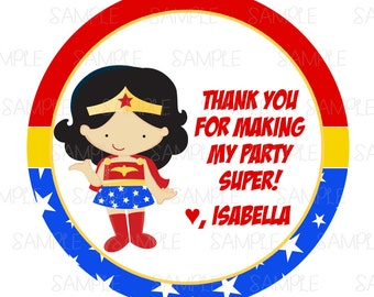 Printable Wonder Woman Party Favor Tags