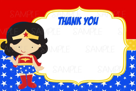 Instant Dowload Printable Wonder Woman Thank You Card