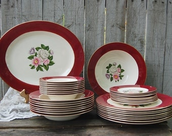 Vintage China, Homer Laughlin, Margaret Rose, China Set, Cavalier, Maroon, Gold Rim, Floral, Mid Century, Service for 8, Holiday, Christmas