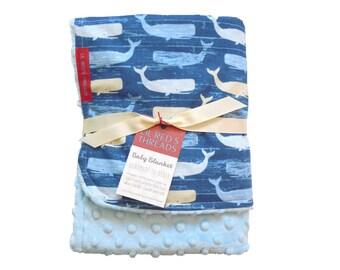 Minky Baby Blanket in Sweet Whales - Designer fabric Minky Baby Blanket - Boutique baby blanket - baby boy, whales, nautical, blue, sea