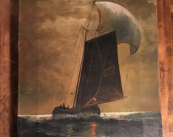 19th Century Antique Original Oil on Canvas Sailboat on the Ocean Signed by Artist