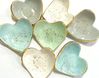 Gold Splatter Heart Ring Dish - handmade with 22K gold luster overglaze