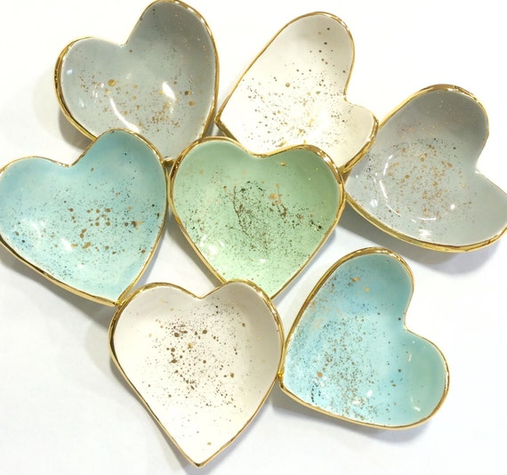 Heart shaped handmade ring dish 22k gold luster overglaze with for Heart shaped jewelry dish