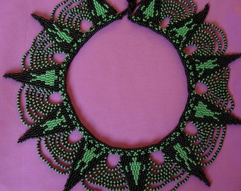 Statement beaded collar necklace.
