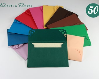 50 Mini Envelopes and 50 blank note cards - Wedding Guest Book Envelopes - Small Colorful Envelopes -  Little Card Envelopes