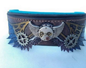 Steampunk Wing Leather Hand Tooled Dog Collar