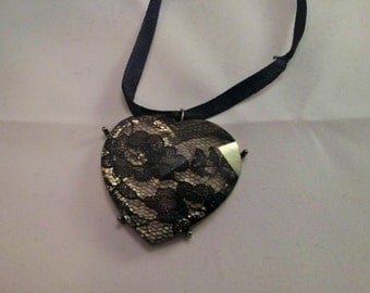 Upcycled Big Plastic and Black Lace Heart with Black Satin Ribbon