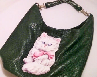 Altered Dark Green Faux Leather Purse with fabric cat applique