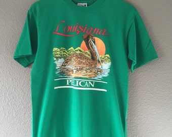 Vintage 90's Green Louisiana Pelican Shirt