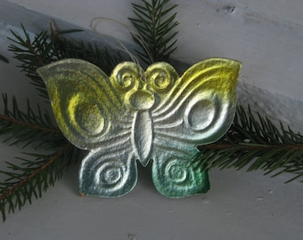 RARE Christmas tree decoration, Butterfly Cardboard Christmas Ornament - Made in USSR