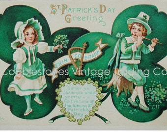 St. Patrick's Day Postcard Digital Download, Erin Go Bragh Antique Aleinmuller Irish Boy Girl Green Shamrock Illustration, Victorian Vintage