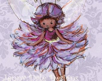 Cute Woodland Fairy Art Print- purple girls' room decor, nursery decor, woodland theme