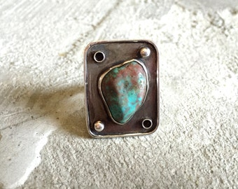 Vintage Old Pawn Turquoise Silver Ring