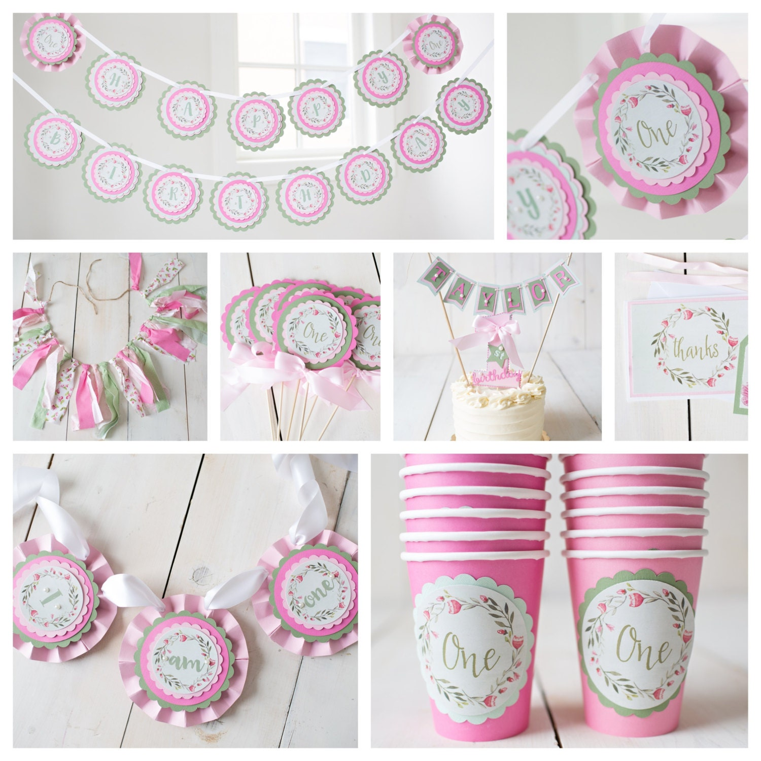 Girl / 1st Birthday Party Decorations. Boutique 7 Piece Party