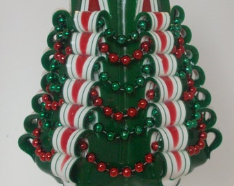 Christmas Tree Pillar Candle / Red and Green