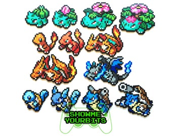 Pokemon Perler Generation 1 Starters and Mega Evolutions - Choose 1 or a Set of 3, 4 and 5