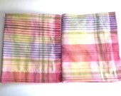 Vintage Pair Set of 2 Wamsutta Standard Pillow Shams Shabby Cottage Chic Pink Blue Sage Green Yellow Stripe Bedding Linens