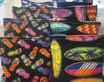 8 ACA Regulation Cornhole Bags - Surf Boards and Flip Flops - Tropical Ocean Theme