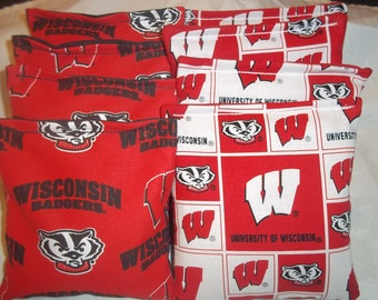 8 ACA Regulation Cornhole Bags - NCAA Wisconsin Badgers with 2 Different Prints