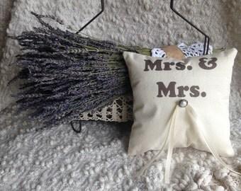 Lesbian Wedding Ring Bearer Pillow - Gay and Lesbian, Lavender Pillow