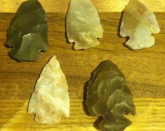 5 Jasper Arrowheads