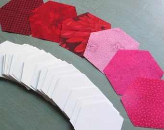 "Hive Paper Pieces - Mixed Red Pink Pack - 1"" Hexagons - Pre-Cut Fabric & Paper Quilt Hexies - English Paper Piecing Kit"