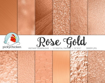 Rose Gold Digital Paper, rose gold paper, rose gold faux foil, rose gold glitter, copper foil paper, New Years Eve photography backdrop 8081