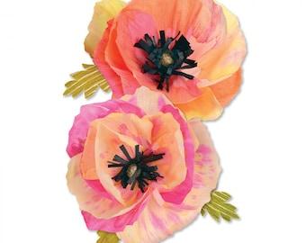 New! Sizzix Thinlits Die Set 4PK - Large Poppy by Brenda Walton 661090