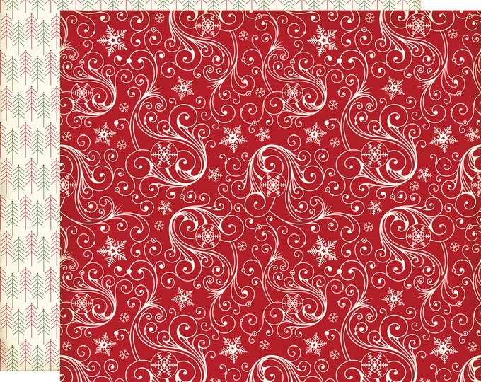 2 Sheets of Echo Park Paper THE STORY of CHRISTMAS 12x12 Scrapbook Paper - Snowflakes (TSC94007)