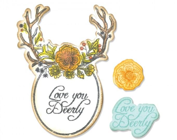 New! Sizzix Framelits Die Set 5PK w/Stamps - Sweet Deer by Jen Long 661132