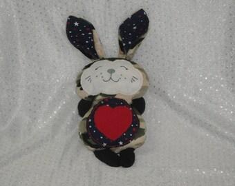 Bunny Rabbit Stuffed Toy/ Stocking Stuffer/ Stuffed Animal/ Plushie/ Bunny Softie/ Rabbit Softie/ Patriotic/ Camouflage Bunny Rabbit