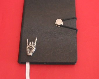 Rock On  Hand Cast Pewter Motif on A6 Black Journal Notebook Rock Music Heavy Metal Music gift 'Rock on' symbol gift