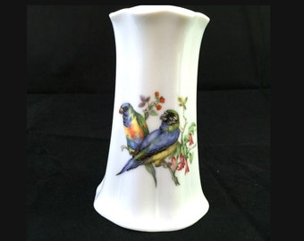 Colorful Bird Porcelain Hatpin Holder, Parakeet Hat Pin Holder, Sunflower Dressing Table, Blue and Green Parrot, Green Fish and Bee Mark