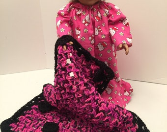 Dark Pink/Black Hand Crochet Quilted Doll Blanket