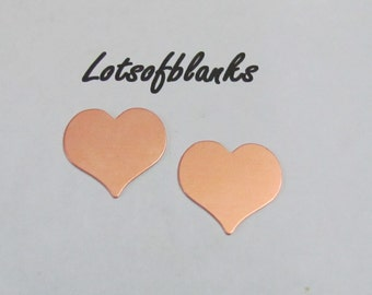 "Copper Heart Blanks - 7/8"" blanks - Necklace supplies - Tumbled Pendant blanks -  Hand Stamping Blanks and Craft Supplies 5 or more"