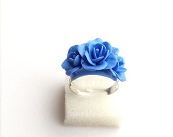 Blue flower ring, blue jewelry, blue flowers, ring, polymer clay ring, polymer clay jewelry, blue, flower ring, blue ring, flower, ring