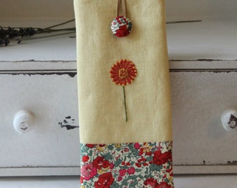 Hand embroidered 'red/gold' with Liberty print linen glasses case