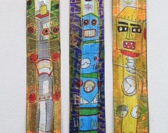 3 Piece Set Retro Robot Hand-painted Original Art Bookmarks