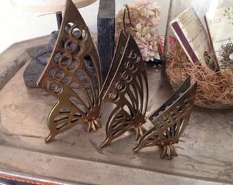 Vintage Standing Brass Butterflies - Set of 3 - Brass Decor